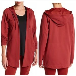 Adidas Women's Red Cardigan Coverup Large Hooded